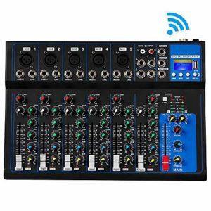 SSeir Bluetooth Mélangeur 7 Canaux Console De Son Microphone Numérique USB Alimentation Fantôme 48V Karaoké Professionnel Audio Mixer Amplifier