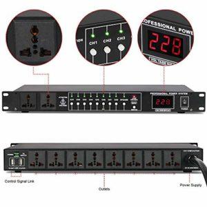 SSeir Conditionneur d'alimentation Audio 10 Canaux, Filtre De Tension, Élimination du Bruit Et des Interférences, Séquenceur Processeur avec Affichage De La Tension