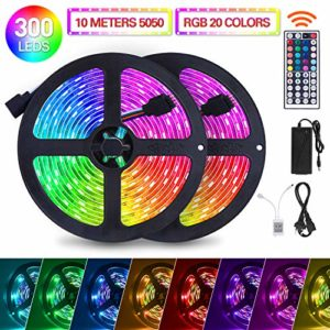 SUNNEST Ruban LED 10M [2 x 5M] 5050 RGB Bande LED Lumineuse Multicolore 300 LEDs avec Télécommande à Infrarouge 44 Touches, DIY Modes, 5A 12V Lumière d'Ambiance (multicolore)