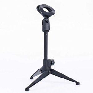 Support universel réglable pour microphone de bureau portable et pliable avec petit clip en plastique