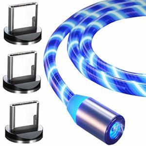 Top-Longer Type C/USB C Câble USB Chargeur de Charge Rapide Bleu LED Fluide Chargeur Câbles (Pas de Transfert de Données)