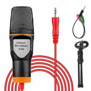 VIDEN Microphone PC, Microphone à Condensateur Jack 3,5 mm avec Trépied et Filtre Anti-Pop Plug & Play pour PC Ordinateur Radio Podcasting Chant Youtube Skype Jeux Videos