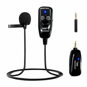 XIAOKOA Microphone Cravate,UHF Microphone Cravate Sans fil,Transmission Sans fil de 50 m,Enregistrement de Sons et de Vidéos, pour Téléphone Portable et Appareil Photo