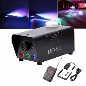 Yimosi 500W,Machine à Fumée RGB LED Fogger Lumières d'effet de scène avec Télécommande pour DJ Club Mariage Anniversaire soirée Disco Bar