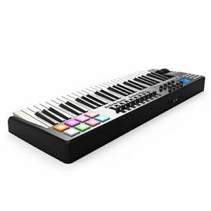 ABMBERTK Contrôleur de Clavier MIDI USB 49 Touches, 8 Pads de Batterie, avec câble USB, Noir