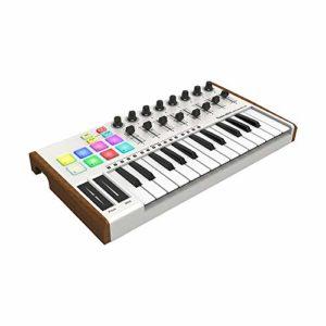 ABMBERTK Contrôleur MIDI 25 Touches, 8 Pads de déclenchement rétroéclairés RVB, Mini contrôleur de Clavier MIDI USB Ultra-Portable, avec tampons colorés