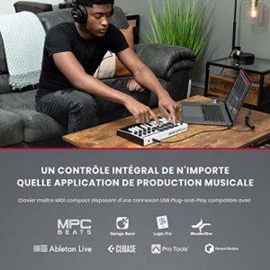 AKAI Professional MPK Mini MK3 – Contrôleur de clavier MIDI USB 25 touches avec 8 tampons, 8 boutons et logiciel de production de musique inclus (blanc)
