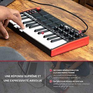 AKAI Professional MPK Mini MK3 – Contrôleur de clavier MIDI USB 25 touches avec 8 tampons, 8 boutons et logiciel de production de musique inclus