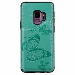 Bear Village Coque Galaxy S9, Anti Rayures Étui à Rabat, Portefeuille Housse en PU Cuir Compatible avec Samsung Galaxy S9, Coque Arrière en Relief, Vert