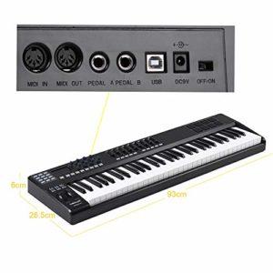 Bedler PANDA61 Clavier contrôleur MIDI portable USB à 61 touches 8 pads déclencheurs rétro-éclairés colorés RVB avec câble USB