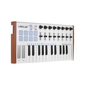 Bedler TUNA MINI Contrôleur de clavier MIDI USB ultra-portable à 25 touches 8 Plaquettes de déclenchement rétro-éclairées RGB avec prise jack à 6,35 mm