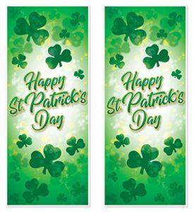 Beistle 33135 Lot de 2 couvertures réutilisables en Plastique pour Porte Motif Happy St. Patrick Vert/Blanc/doré 76,2 x 15,2 cm