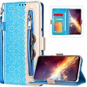 Compatible avec Samsung Galaxy A41 Coque Étui à Rabat en Cuir PU,Élégante Fleur Motif Fermeture éclair Etui Housse Portefeuille Flip Case Cover avec Support pour Galaxy A41,Bleu