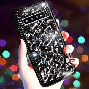 Coque Compatible avec Samsung Galaxy S10,QPOLLY Diamant Strass Brillante Glitter de Housse Étui de Protection Plastique Hard Case Silicone TPU Bumper avec Absorption de Choc pour Galaxy S10,Noir
