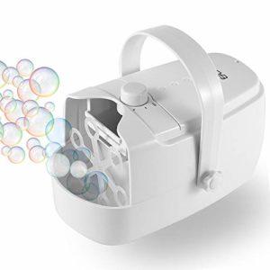 EASYCEL Machine à bulles, souffleur à bulles automatique, créateur de bulles durable pour usage extérieur et intérieur, alimenté par fiche ou piles avec deux modes de vitesse (blanc) …