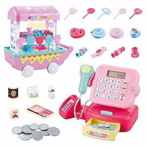 Ensemble caisse enregistreuse à roulettes pour enfants