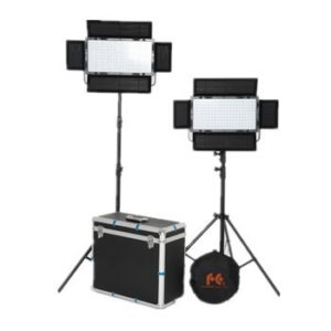 Falcon Eyes 2*LP-2005TD 200pcs LEDs 100W Power 3000-8000K Color Temperature LED Panel Light Set with 2.6 Meter Light Stand and Aluminum Case
