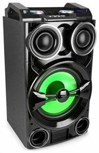 Fenton LIVE102 Megasound Party Box 300 Watts Bluetooth, Enceinte Active, SD et USB, Ecran de Lecture LCD, 2 entrées Micro (Jack 6,35) + 1 entrée Ligne stéréo (RCA), Woofer 10″, Télécommande Incluse