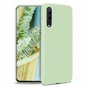 FHXD Compatible avec Les Coque Xiaomi Mi 9 Souple TPU Silicone Liquide Coquille+1*Protecteur D'écran Anti-Choc Anti-Rayures Anti-Dérapante Original Housse Etui-Vert