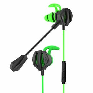 Hopcd Écouteurs de Jeu filaires avec Micro 3,5 mm Casque Universel et Microphone omnidirectionnel pour Ordinateur/téléphone Portable/Tablette(Vert)