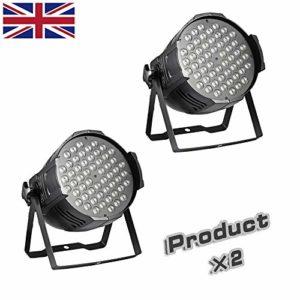 Lumières de scène RVB LED de fête Disco DJ Lumières RVB colorées stroboscopiques à distance flexible Contrôle DMX par Lights UK (Produit×2)