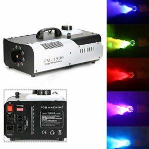 Machine à fumée 1,5 KWLED Fogger avec télécommande, pour mariage, fête, théâtre, discothèque, club (9 x 3 W 3 en 1 RGB)