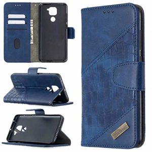Miagon Xiaomi Redmi Note 9 Étui pour Téléphone,Antichoc Cover Crocodile Épissage PU Cuir Coque Housse avecMagnétique Porte-Cartes de Crédit Stand Support,Bleu