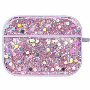 NSSTAR Compatible avec AirPods Pro Coque Étui Anti-Choc Housse Glitter Diamant Ultra Mince PC Rigide Protecteur Housse AirPods Pro Bling Brillant Strass Coque pour Filles et Femmes,Rose