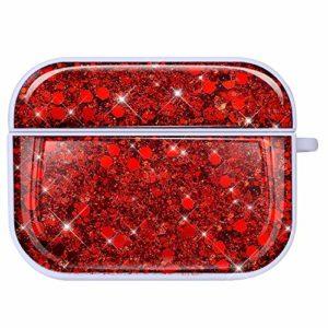 NSSTAR Compatible avec AirPods Pro Coque Étui Anti-Choc Housse Glitter Diamant Ultra Mince PC Rigide Protecteur Housse AirPods Pro Bling Brillant Strass Coque pour Filles et Femmes,Rouge