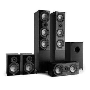 NUMAN Reference 851 Système HiFi Audiophile Ensemble d'enceintes 5.1 (2 Enceintes Colonne, 2 Enceintes bibliothèque, subwoofer de 16,5cm de 6.5″) – Noir