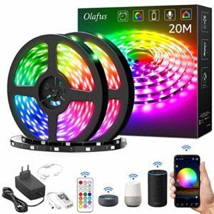 Olafus WiFi Ruban LED 20M, 600 LEDs 5050, Bande Lumineuse Couleur RGB Assistant Google Alexa Connecté, Mode et Luminosité Réglable, Compatible avec APP iOS et Android, Télécommande