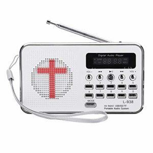 OverTop Bible Lecteur de musique MP3 Portable Mini Radio FM TF USB Affichage LED Fonction clavier numérique pour les personnes âgées Cadeau