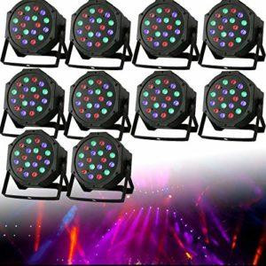 Par Lot de 10 phares LED WUPYI2018 18 x 3 W RGB DMX Flat Compact Floorspot Disco pour club Bar KTV