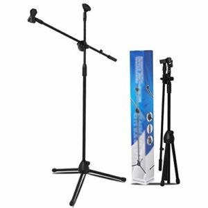 Pied de Micro Double Clip Filaire sans Fil de Levage Capacitor Mai scène Performance Sol Pied de Micro Pied de Microphone pour la radiodiffusion (Color : Black, Size : 80-160cm)