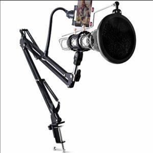 Pied de Micro Micro Universal Mobile Cantilever Professionnel métal Anti-Choc d'ancrage Pied de Micro Pied de Microphone pour la radiodiffusion (Color : Black, Size : 95CM)