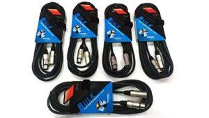 Proel – BULK250LU5 – Lot de 5 câbles audio professionnels pour micro et enceintes de monitoring, câbles XLR 3 broches mâle/femelle