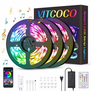 Ruban LED Bluetooth Intelligent, VITCOCO Bande LED 12M 360LEDs Peut-Découpé Clignotant au Néon Contrôlé par APP/Télécommande IR et interrupteur Lumières Décoratives Synchroniser avec Rythme de Musique