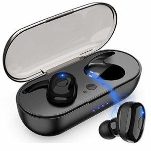 SANRF Mini casque Bluetooth stéréo IPX7 étanche avec casque CVC avec casque antibruit et contrôle tactile pour Android et IOS Noir