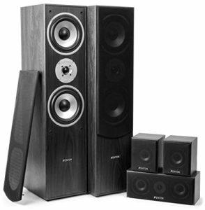 SkyTronic Système Home Cinéma 5.0 – Puissance de 335 W RMS , Pack de 5 enceintes , Couleur bois noir , Idéal pour le Home Cinema ou la HiFi , Haute qualité sonore