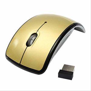 Souris d'ordinateur portable pliable sans fil, Arc Touch 2.4G ultra mince avec récepteur USB pour ordinateur portable PC. Or