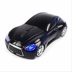 Souris sans fil, récepteur USB pour ordinateur portable en forme de voiture, 2,4 G, 1200 Dpi. Noir