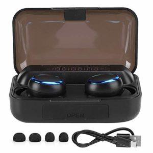 Tonysa Écouteurs Bluetooth Écouteurs sans Fil Écouteurs Intra-Auriculaires sans Fil Écouteurs à Affichage numérique Écouteurs sans Fil 5.0 Affichage de l'alimentation LED Casque binaural(Noir)