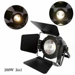 Yunrux Éclairage de scène LED COB 2 couleurs 200 W Éclairage de scène Projecteur DMX Lumière disco DJ Strobe Light LED PAR pour DJ Disco Stage Party Blanc chaud