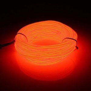 5M Néon lumière de câble avec le Pack de batterie Néon brillant l'effet stroboscopique fil électroluminescent Parti de Noel Halloween intérieure et extérieure Décoration(Orange)