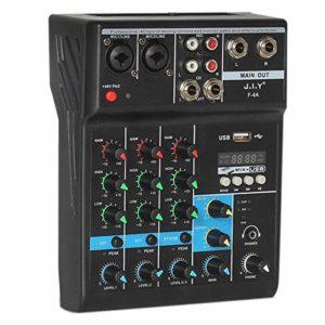 ACAMPTAR Console DJ Professionnelle de Mixage Audio MéLangeur à 4 Canaux avec Effet de RéVerbéRation pour la Maison Karaoke USB Live Stage KTV