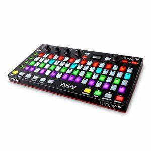 AKAI Professional FIRE – Contrôleur MIDI pour FL Studio avec connectivité USB Plug-and-Play 64 Pads RVB Sensibles au Toucher, grande variété de Commandes et écran DELO