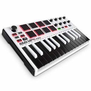 AKAI Professional MPK Mini MKII LE White – Clavier Maître MIDI/USB 25 Touches Sensibles à la Vélocité, 8 Pads, 8 Potentiomètres et Joystick, 4 Voies + Pack de Logiciels Inclus – Édition Limitée Blanc