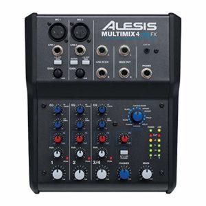 Alesis – MultiMix4 USB FX – Table de Mixage Analogique 4 Voies avec Effets, Interface Audio USB et Logiciel Cubase LE Inclus – Noir