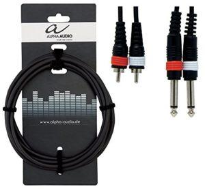 Alpha Audio 190220 Basic Line Double câble 6 m 2 x 6,3 mm Jack Mono/2 x Cinch Noir