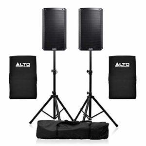 Alto TS312 Lot de 2 haut-parleurs actifs 30 cm avec housses et supports pour DJ Disco 2000 W